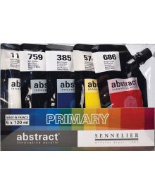 Sennelier Abstract Acrylic Paint, Assorted Primary Colours, Set of 5
