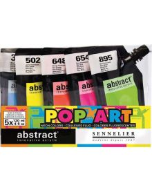Sennelier Abstract Acrylic Paint, Assorted Fluorescent Colours, Set of 5