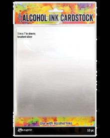Tim Holtz Alcohol Ink Cardstock Brushed Silver, 10 pc