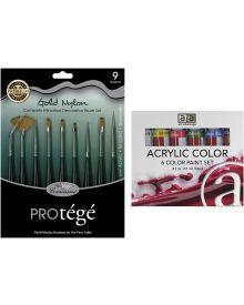 Connoisseur 9-Piece Mini Brush Set and Six Colour Acrylic Tube Set