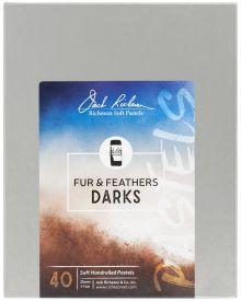 Richeson Hand Rolled Soft Pastel Fur & Feathers Darks, 40 Piece Set
