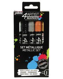 Pébéo 4Artist Marker Oil Based Glossy Permanent Paint Pen - Metallic Basic (4mm) Set of 5