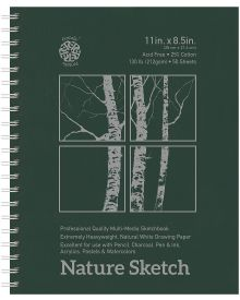 Nature Hard Cover Spiral Bound Sketch Pad - 11 x 8-1/2 Inches