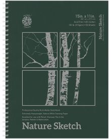 Nature Hard Cover Spiral Bound Sketch Pad - 15 x 11 Inches