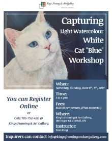 "Capturing Light Watercolour White Cat ""Blue"" Workshop June 8th, 9th, 2019"