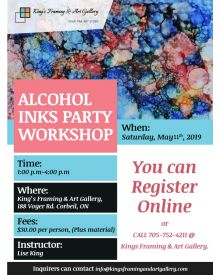 Alcohol Inks Party Workshop May 11th, 2019