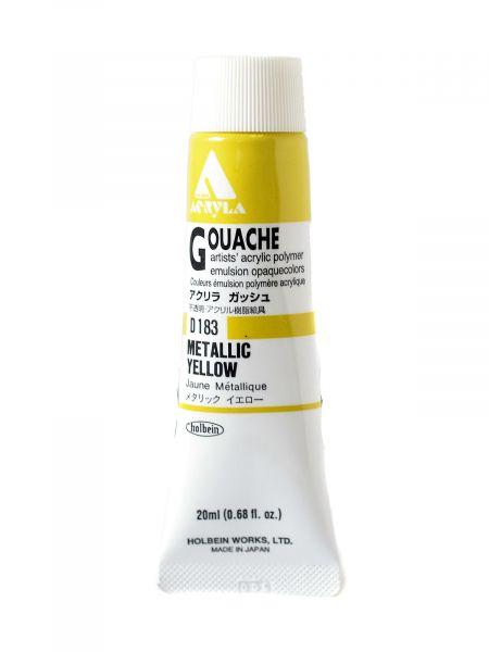 Holbein Acryla Gouache Metallic Yellow 20 ml Tube